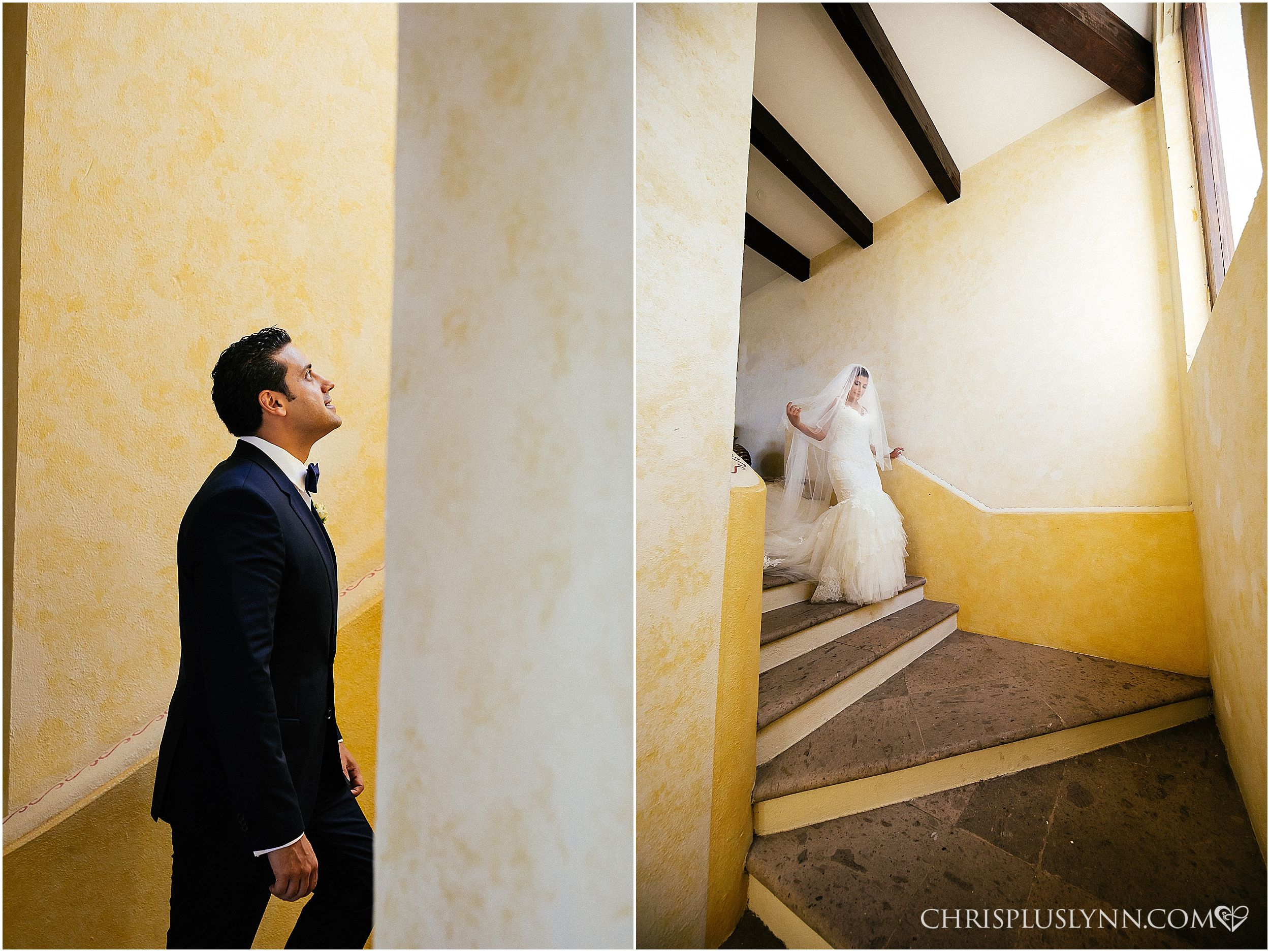 Cabo del Sol Wedding | First Look on Staircase