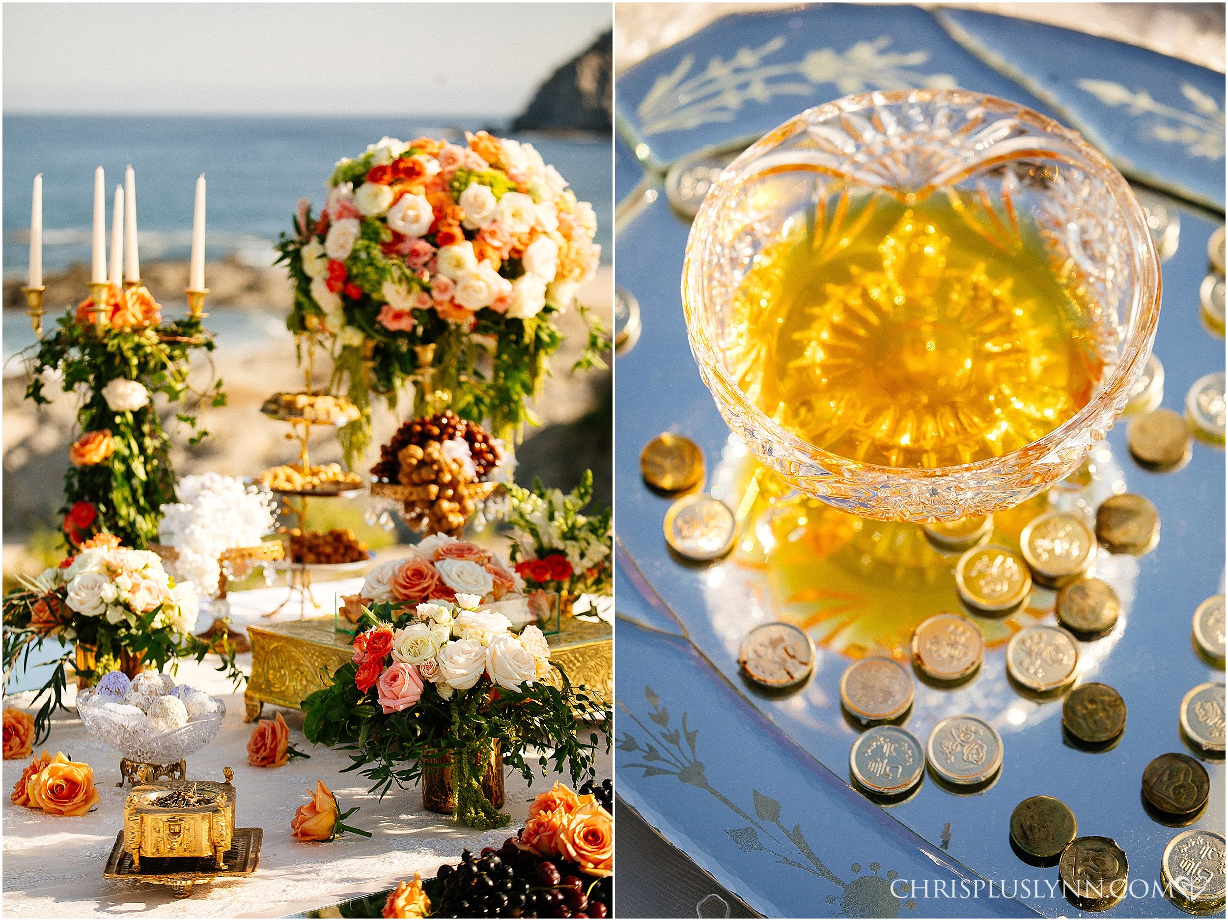 Cabo del Sol Wedding | Colorful ceremony design with Persian details